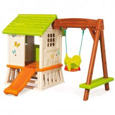 Игровой домик с горкой и качелей Smoby Forest Hut (810601)